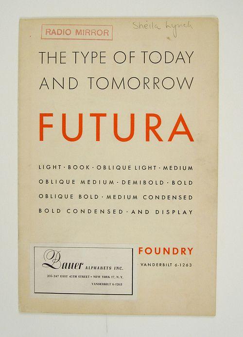 1930's Futura Specimen Booklet: Booklet 1930, Booklet Typography, 1930S Futura, Specimen Booklet, Type Specimen, Favorite Font, Futura Specimen, Futura Poster