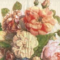 3195 - serviette en papier vieilles roses anglaise