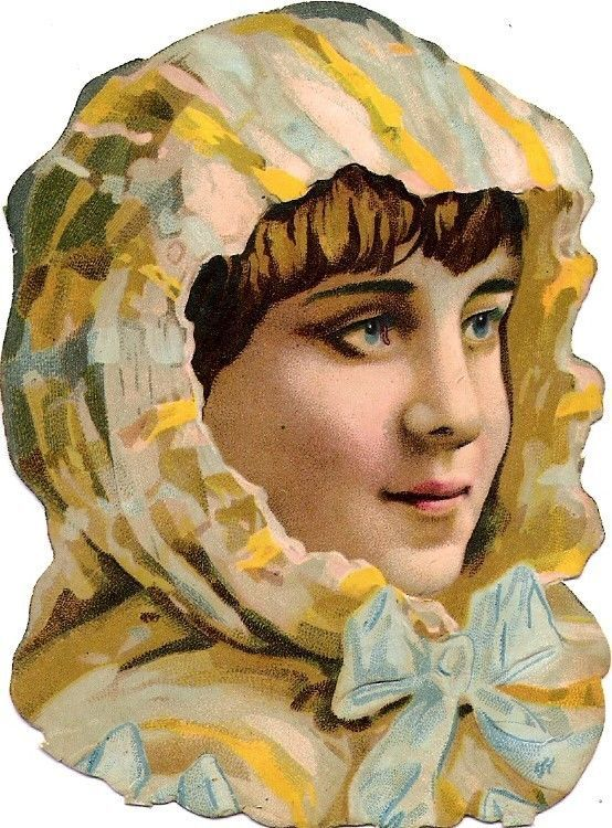 Oblaten Glanzbild scrap diecut chromo Dame  9,6 cm lady girl Kopf head buste: