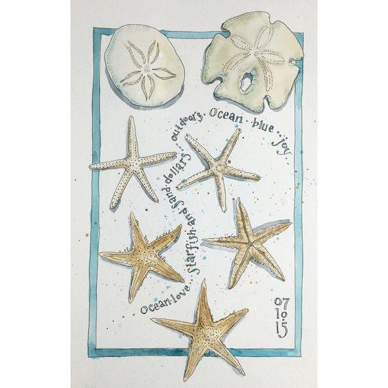 """A little sea treasure love ☀️ #artjournal #healthyhabit #happinessinpainting #painteveryday #seashells #oceanlove #mightyocean #stillmanandbirn…"""