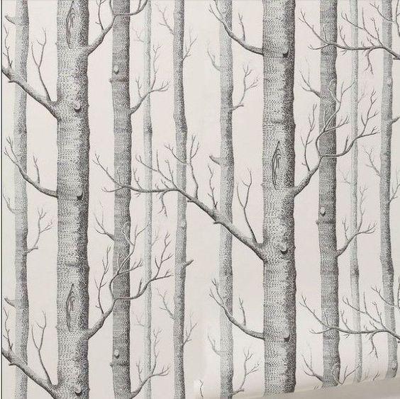 Modern tree pattern forest woods designer wallpaper roll for Tree wallpaper for home