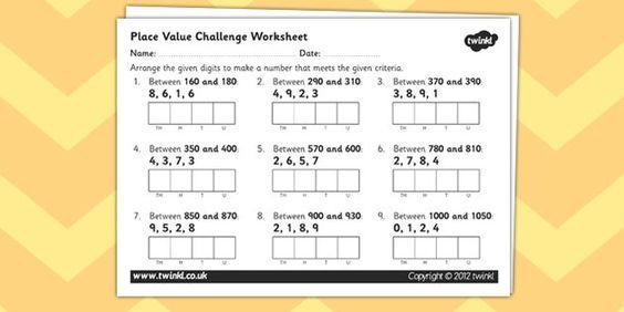 Place Value Challenge Worksheet Year 4 Number and Place Value - place value worksheet