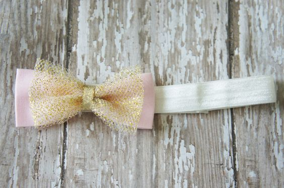 Newborn Headband Pink, Gold, White by MegandMattys on Etsy