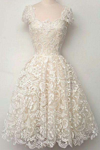 Openwork Lace Hook Midi Dress - Lace- Ball gown dresses and Gowns