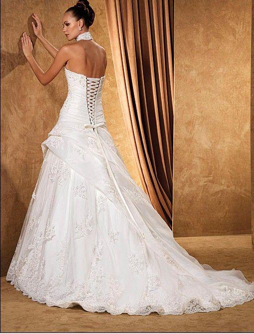 Robe de mariée plissée col américain lacée au dos à dentelle avec ...