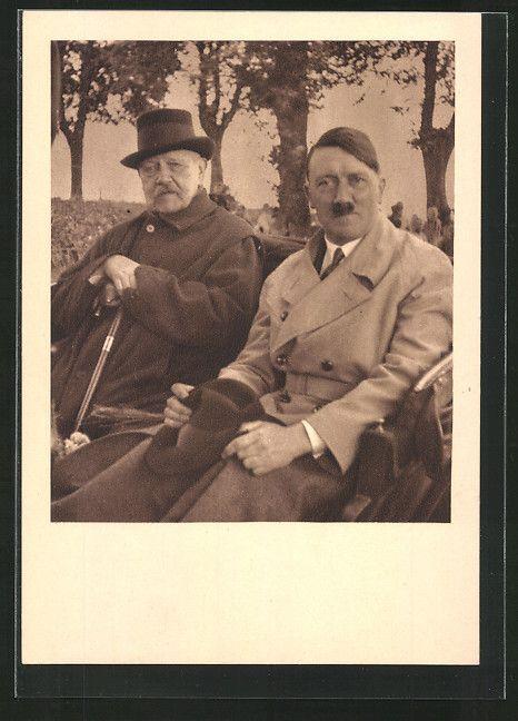 old postcard: AK Neudeck, historischer Tag 1933, Führer Adolf Hitler besucht Reichspräsident Hindenburg