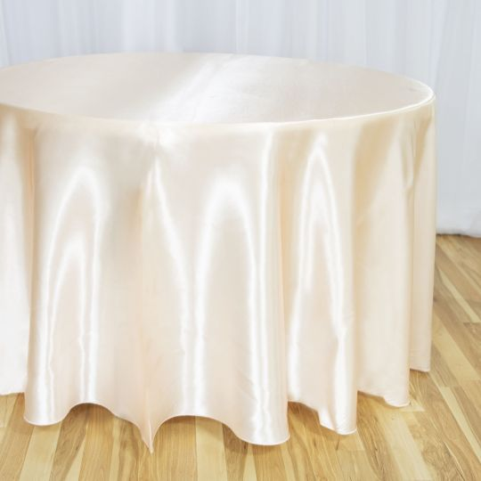 108 In Round Satin Tablecloth In 2020 Luxury Wedding Decor Round Tablecloth Table Runners