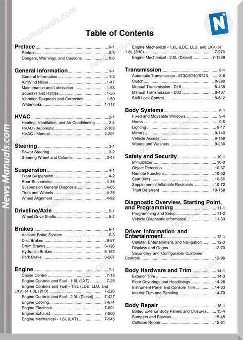Chevrolet Cruze Models 2010 Year Repair Manuals Repair Manuals Chevrolet Cruze Repair