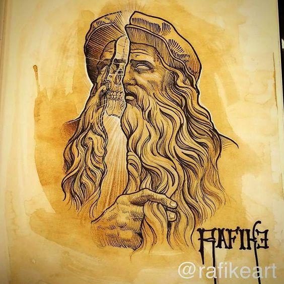Minha versão de Leonardo da Vinci!  To gostando muito de trabalhar com este estilo!! Dá para adaptar várias ideias   rafikeart@outlook.com by rafikeart