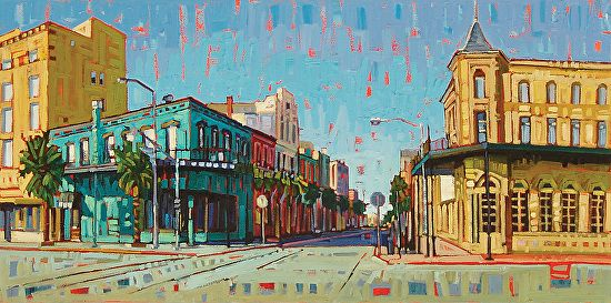 """""""The Stork & 21 Clubs on Postoffice Street"""" by Rene Wiley by Rene' Wiley Gallery Oil ~ 20 x 40"""