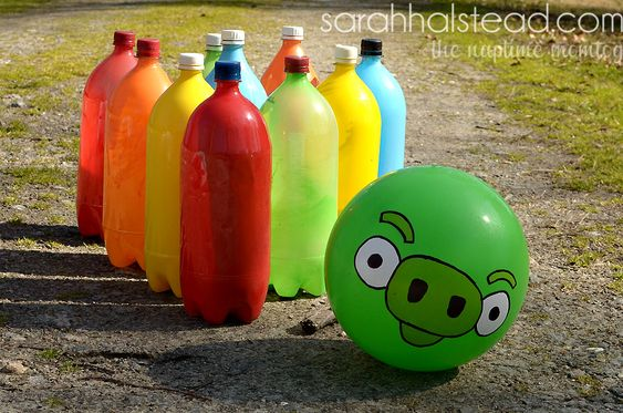 DIY  Bowling Game Summer Project for Mayce & Brody ( Shaina start saving me some 2 liters :))