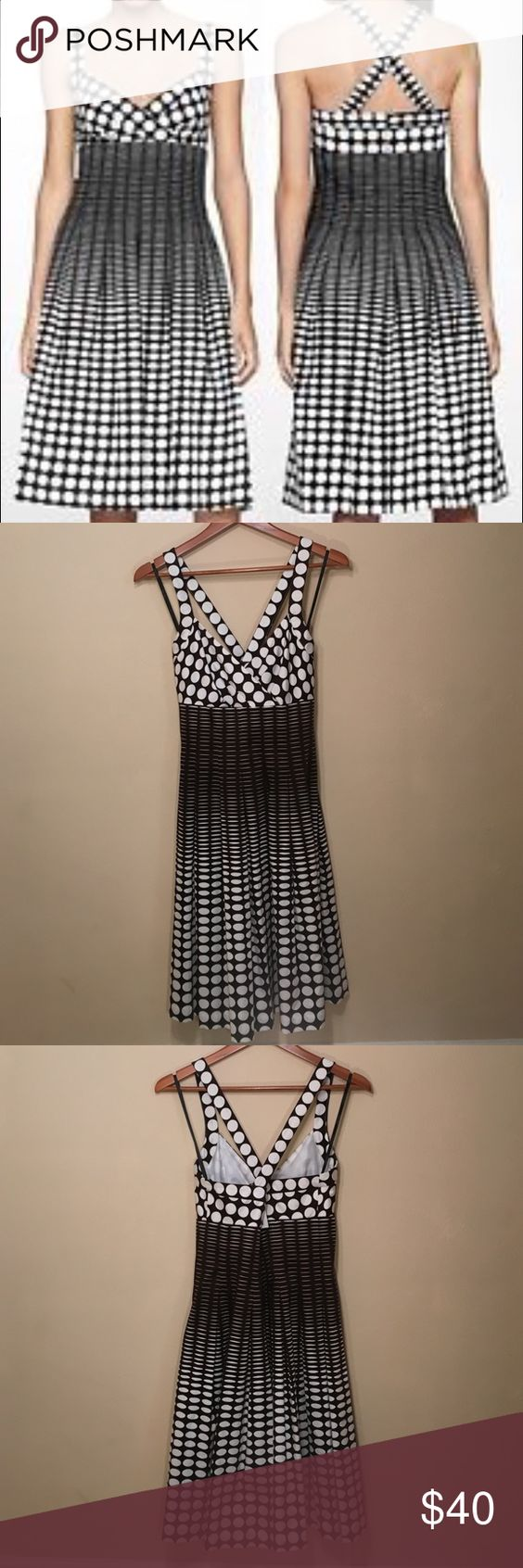 ‼️SALE‼️Calvin Klein Brown Polka Dot Dress Never worn chocolate and white CK dress. Very cute with crossing straps in the back. Perfect condition from a smoke-free home. Open to offers! Discount when you bundle. Calvin Klein Dresses Midi