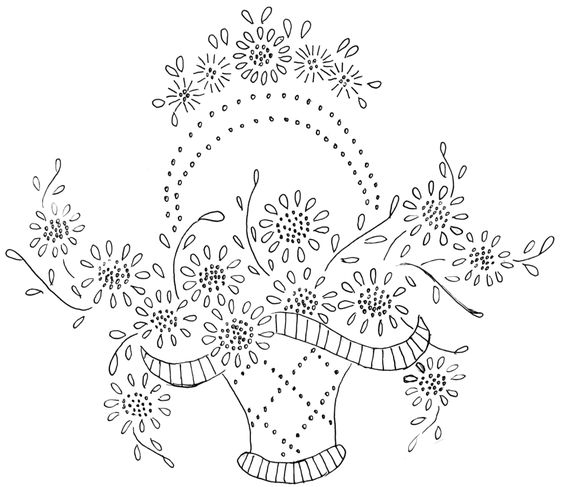 Vintage hand embroidery patterns baskets were used