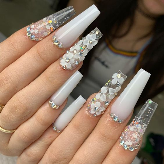 Nail Art Stickers That Don T Look Cheap In 2020 White Acrylic Nails Coffin Nails Designs Acrylic Nails