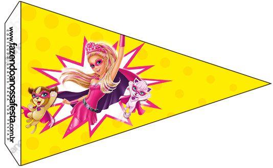 Bandeirinha Sanduiche 4 Barbie Super Princesa--- http://fazendoanossafesta.com.br/2015/07/barbie-super-princesa-kit-festa-infantil-gratis.html/