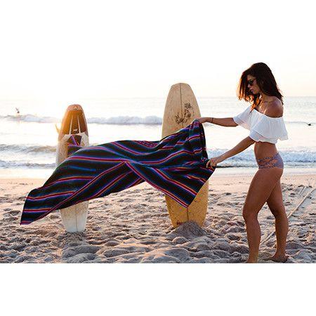 Serape Blanket Teal Beach blanket, handwoven in Guatemala.