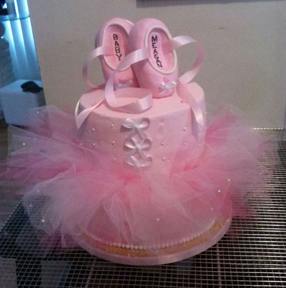 ballerina baby shower cake 2 tier 6 marble and 10 yellow cake w