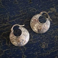 Etched Flower Arracadas, Mexican Sterling Silver Earrings