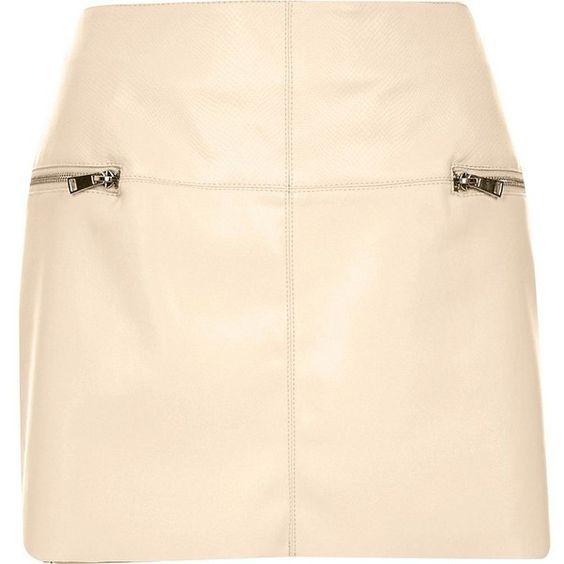 River Island Cream leather-look zip side pelmet skirt (1,010 MXN ...