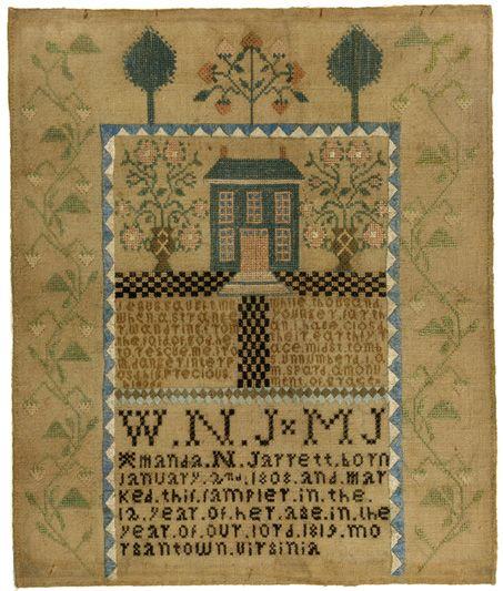 1819 amanda jarrett sampler colonial williamsburg for Williamsburg craft house catalog