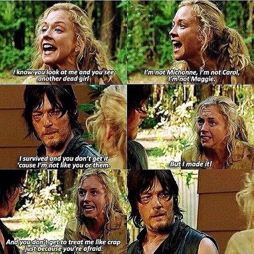 """The Walking Dead 4x13 """"And you don't get to treat me like crap just because you're afraid!"""""""