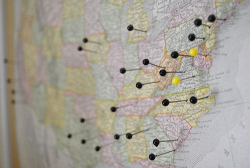I can't wait to do this! Vintage map with pins of all the places Jon & I have visited together. 5 cross country trips to document so far and lots of west coast travels!