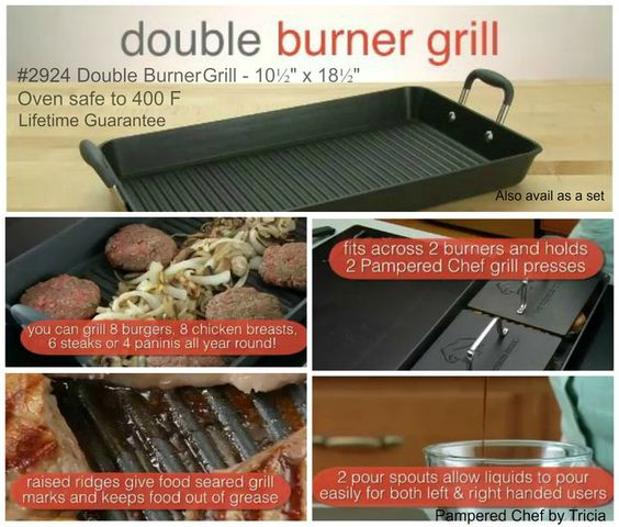 Double Burner Grill Pan! Want to know more? Get yours at pamperedchef.biz/amberjover