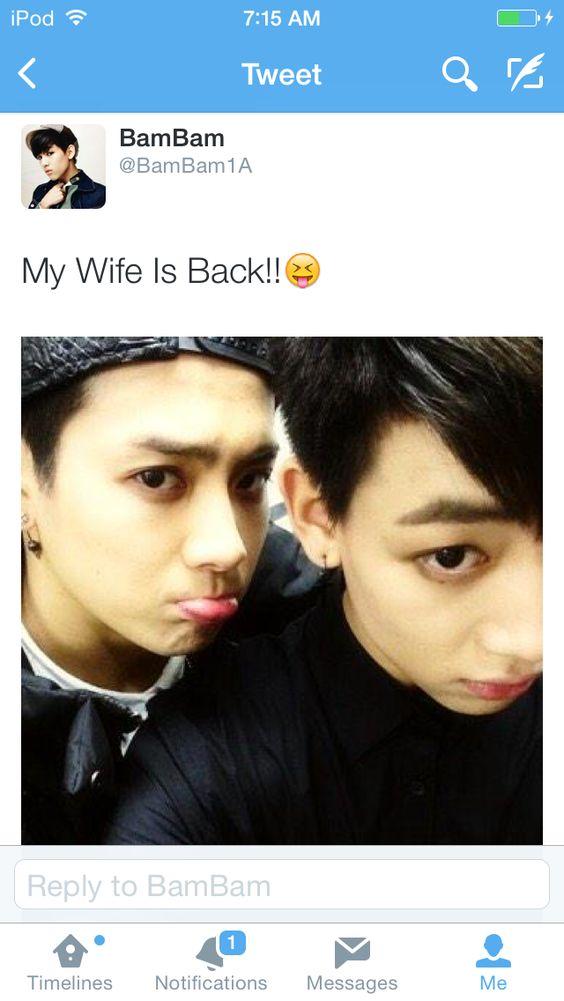 "BamBam's twitter update ""My wife is back!!!"" 12/2/14 #Got7 #Jackson #BamBam #Twitter"