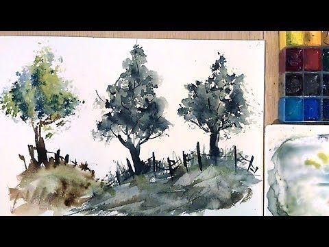 Acuarela Pintar Arboles Con Esponja Wartercolor Paint With