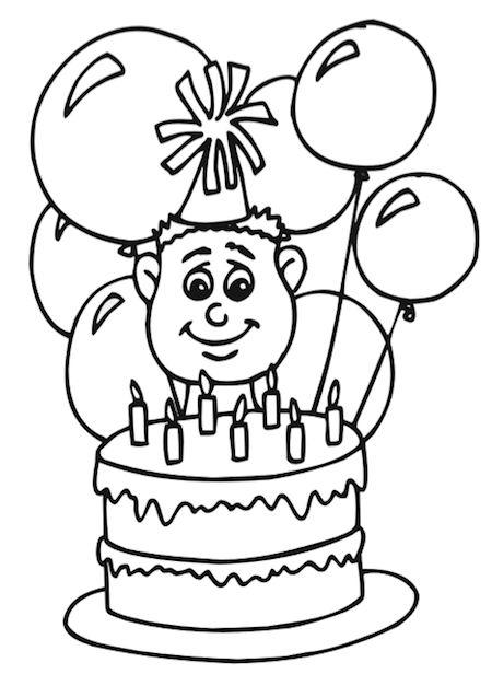 met taart kleurplaat verjaardag met