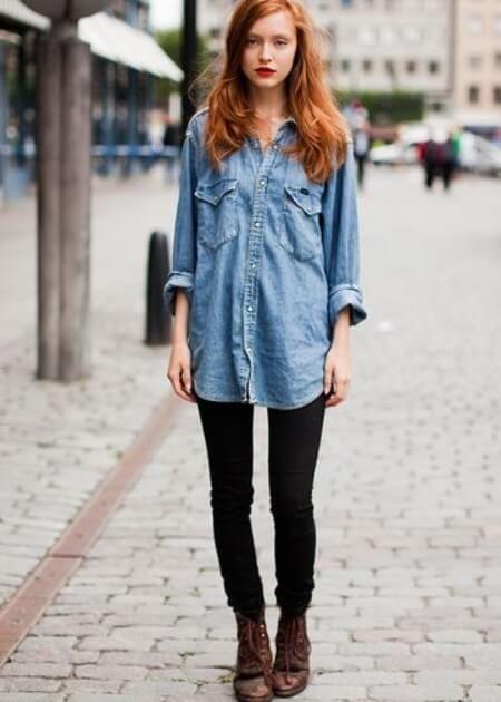 look camisa jeans