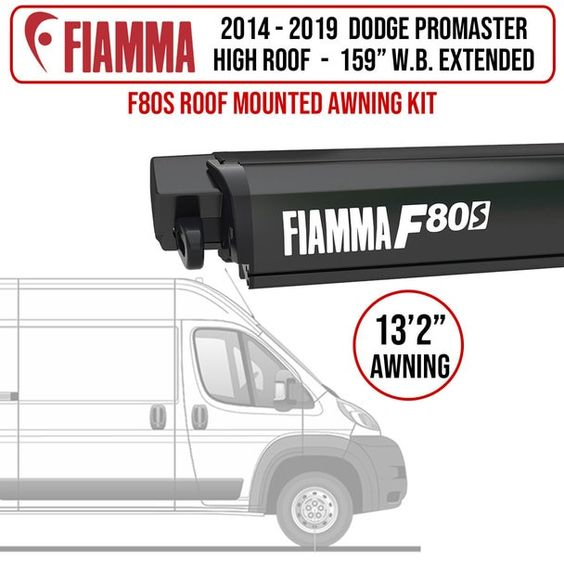 Fiamma 14 19 Dodge Promaster L4h2 159 Wb Ext F80s Patio Awning Kit In 2020 Patio Awning Rafter Awning