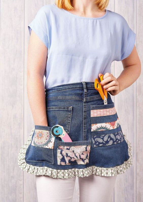 Turn a pair of old jeans into a stylish and useful craft pinny that packed with pockets!