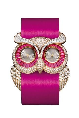 Bejeweled owl watch
