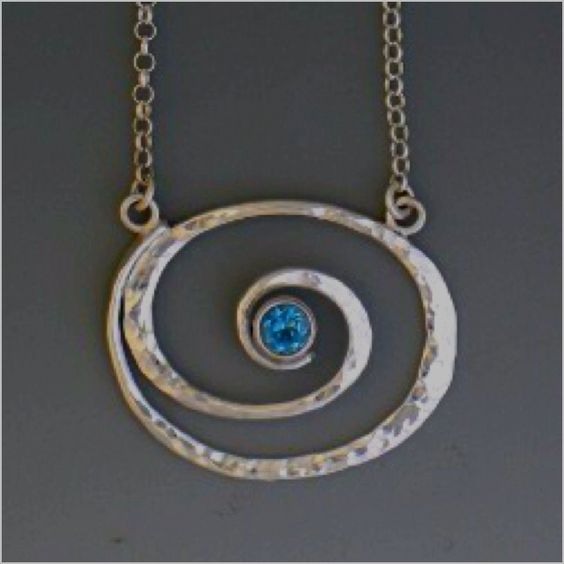 Peggie Robinson Designs: Spiral Sterling Necklace with Blue Topaz. Beautiful!