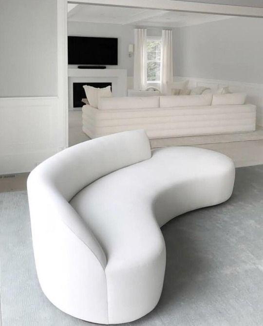 White Curved Minimal Contemporary Sofa Curvy Sofa Sofa Design