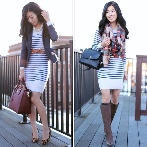 Wore this cozy sweater dress again today! Which look do you like - work or weekend?  @liketoknow.it www.liketk.it/Bby4
