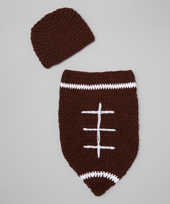 Look at this Adorable Me XO Brown & White Football Sack & Beanie on #zulily today!