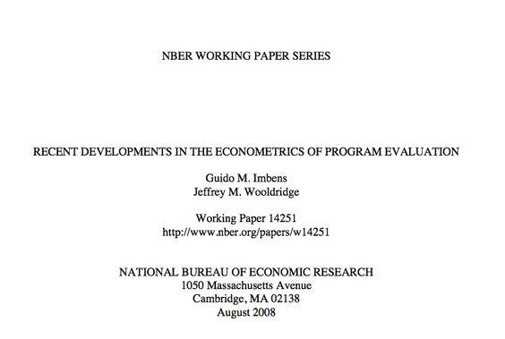 Recent Developments in the Econometrics of Program Evaluation - program evaluation