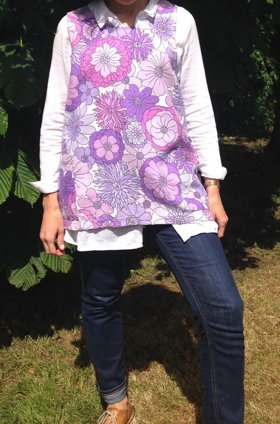 Retro Purple Floral Crossover Smock Apron by didyoumakeityourself