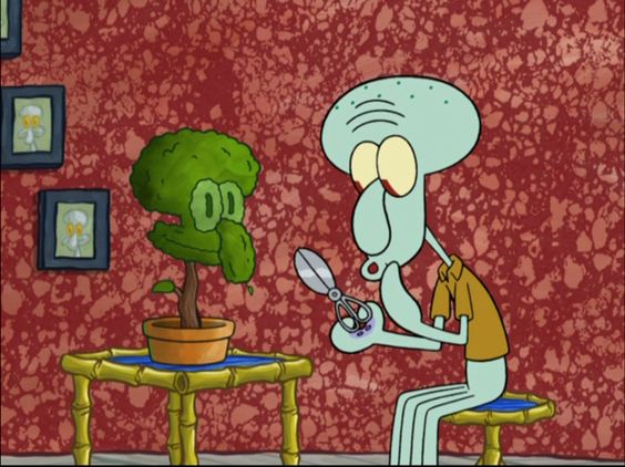 Squidward trimming his house plant