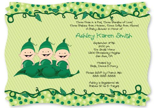 Triplets - Three Peas In A Pod Caucasian - Baby Shower Invitations With Squiggle Shape $1.49