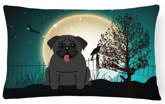 Halloween Scary Pug Black Canvas Fabric Decorative Pillow BB2196PW1216