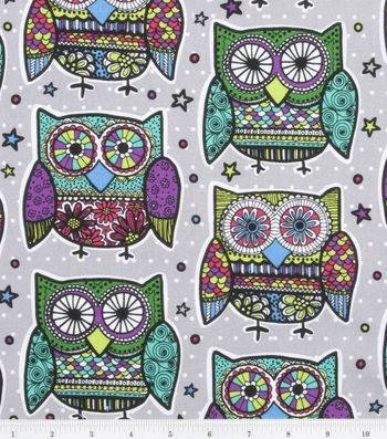 Novelty Cotton Print Fabric-Multi Colored Owls