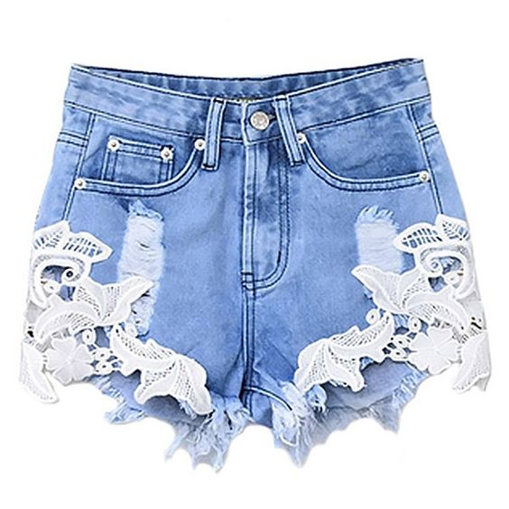 Garden Lace insert Denim Shorts-AZURE-S ($32) ❤ liked on Polyvore featuring shorts, bottoms, azure, zipper pocket shorts, zipper shorts, denim short shorts, denim shorts and jean shorts