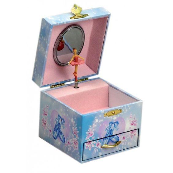 Ampliar imagem de: Caixa de música azul com bailarina e sabrinas à frente