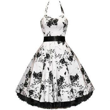 Vintage Halterneck Floral Imprimir sin mangas plisadas País vestidos occidentales para las mujeres para Vender - La Tienda En Online IGOGO.ES