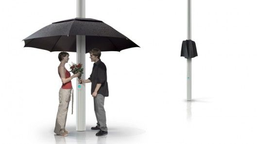 Sensors ensure the Lampbrella is deployed to offer pedestrians shelter whenever it starts ...#concept