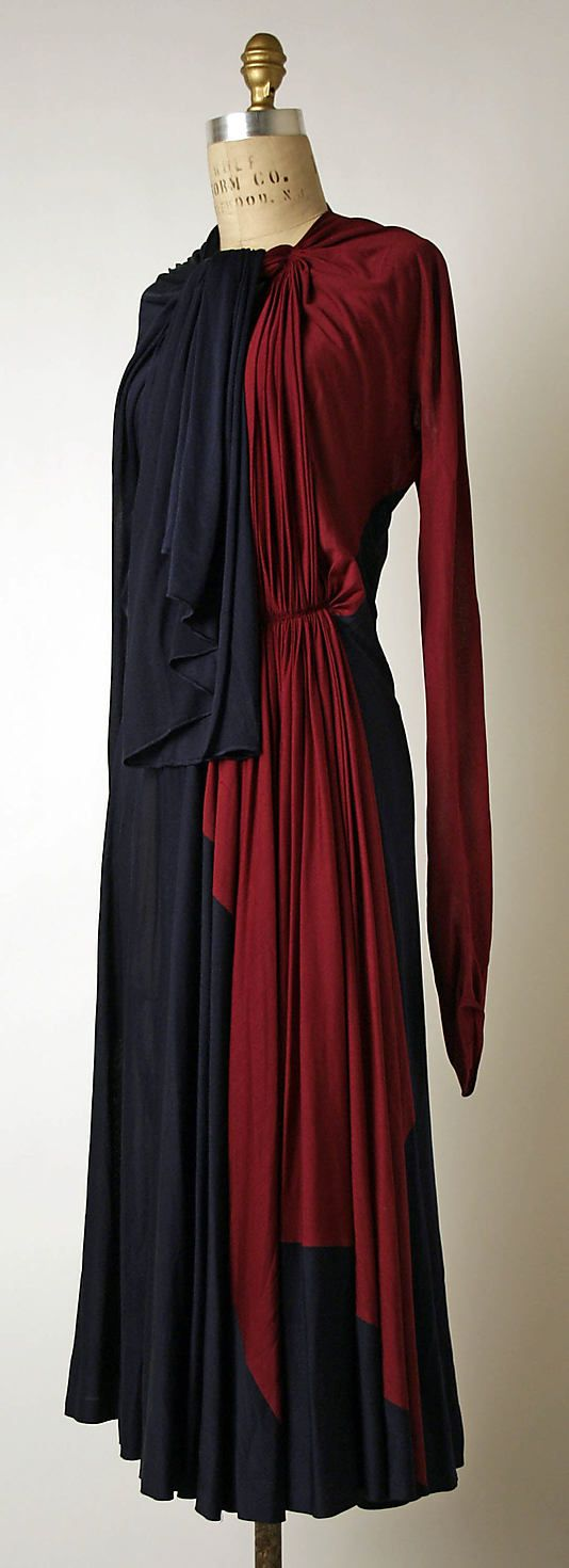 Afternoon dress  Madame Grès (Alix Barton)  (French, Paris 1903–1993 Var region)    Date:      1937–39  Culture:      French  Medium:      silk