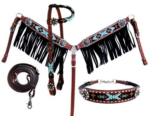 Reins /& Wither Strap Set New Horse TACK! Showman 4 Piece Beaded Navajo Design Headstall Breast Collar
